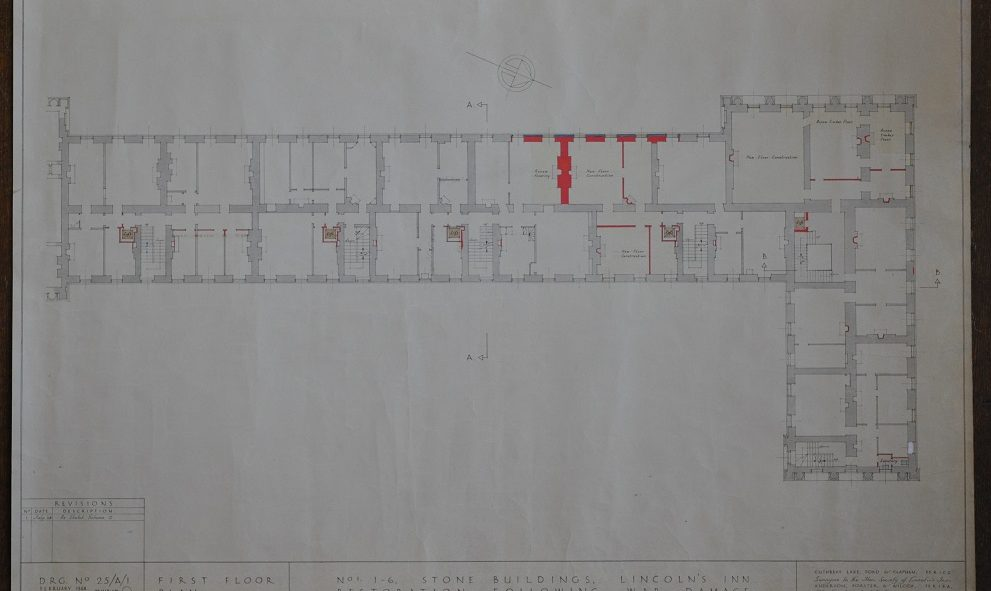 Plans for repairing the damage to Stone Buildings at Lincoln's Inn