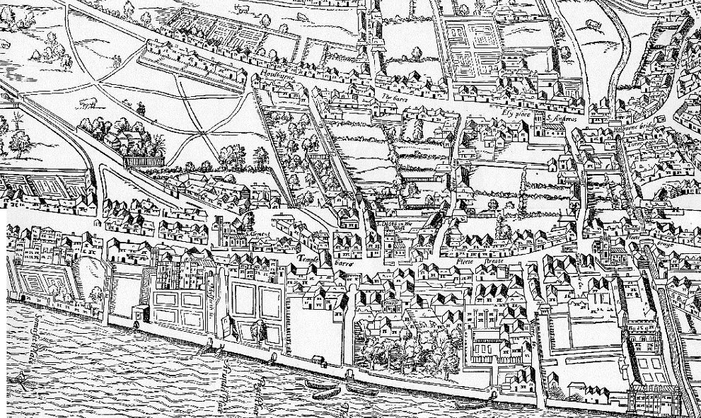 An historic Agas Map illustration of Lincoln's Inn