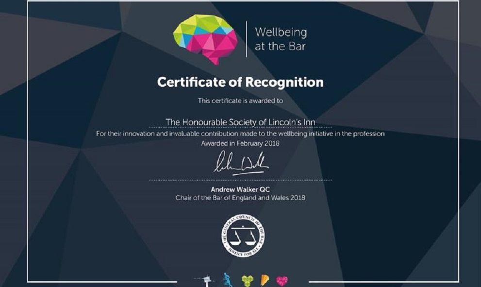 Certificate of Recognition for Wellbeing at the Bar