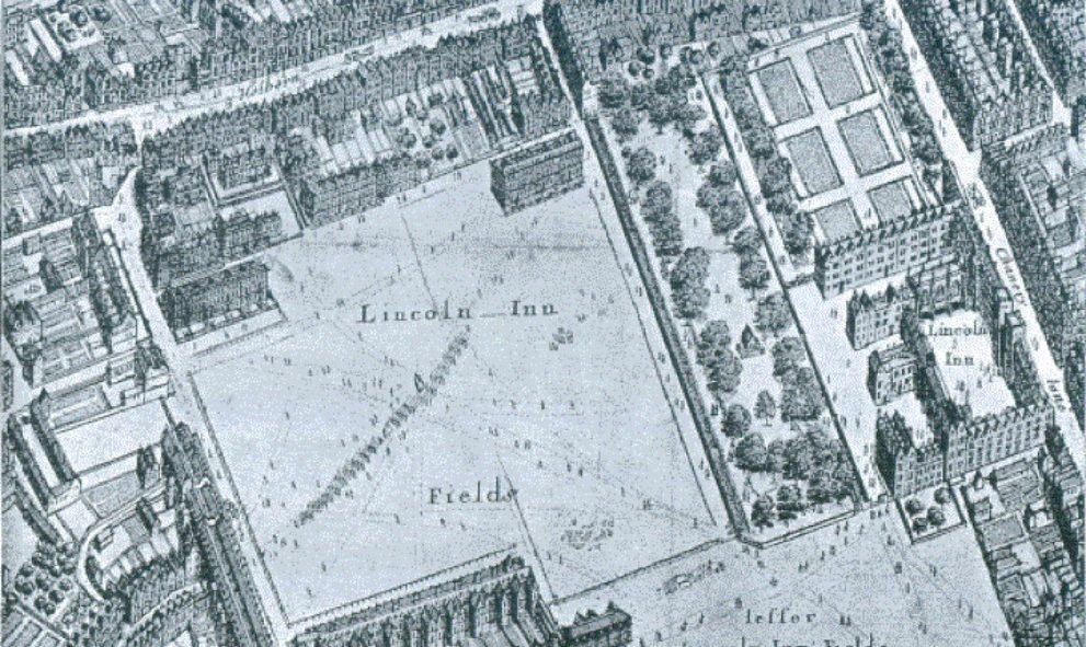 Historic aerial depiction of Lincoln's Inn from Hollar