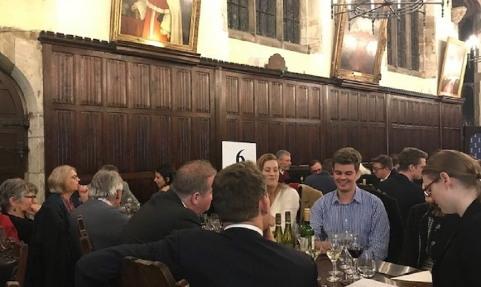 Image of people at a table in Old Hall at Lincoln's Inn on Quiz Night 2018