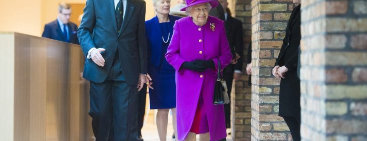photo of the Rt Hon Lord Justice Patten, Her Majesty the Queen and Mary Kerr walking through the Ashworth Centre