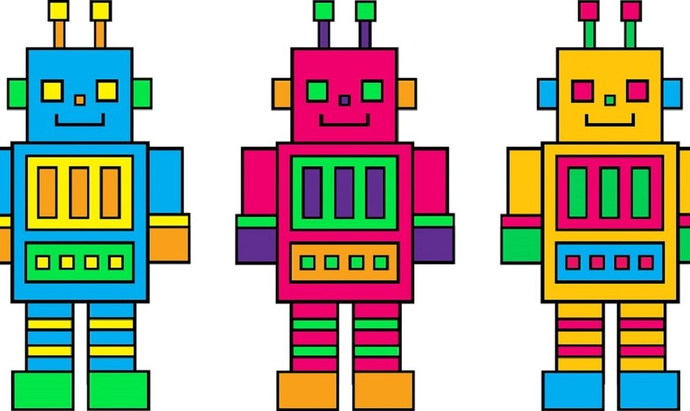 illustration of 3 toy robots in a row