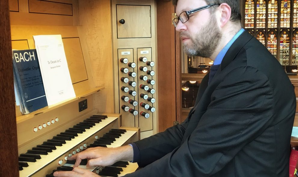 photo of William Whitehead, Associate Organist, playing the organ at Lincoln's Inn Chapel