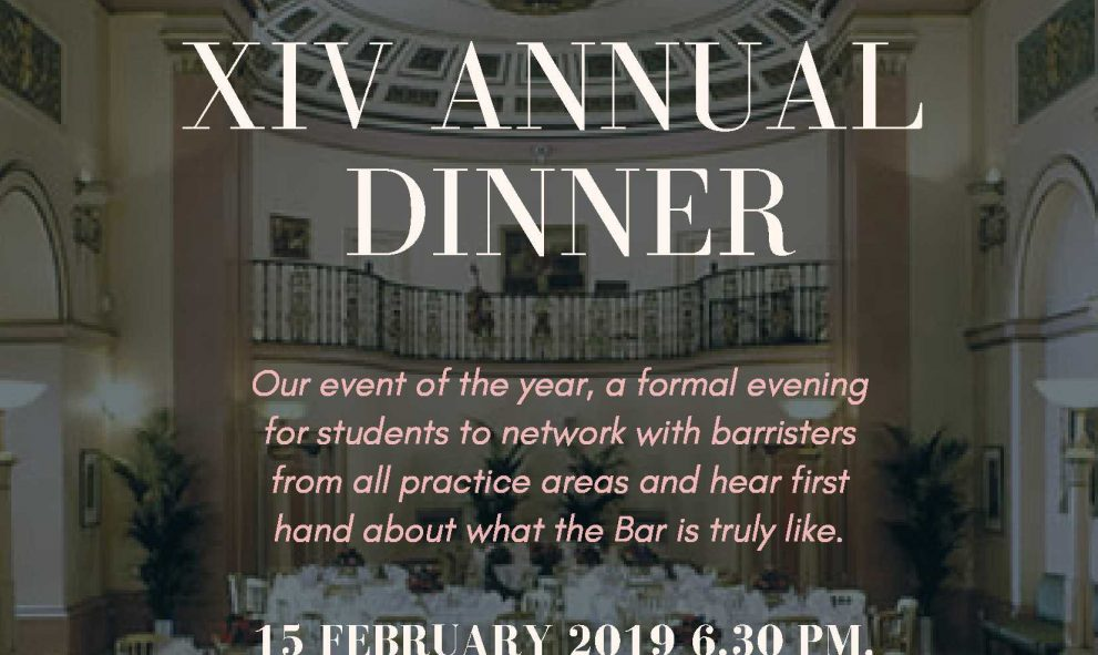 announcement of KCL Annual dinner - text on photographic background. Photo is of the Landsdowne Club Mayfair