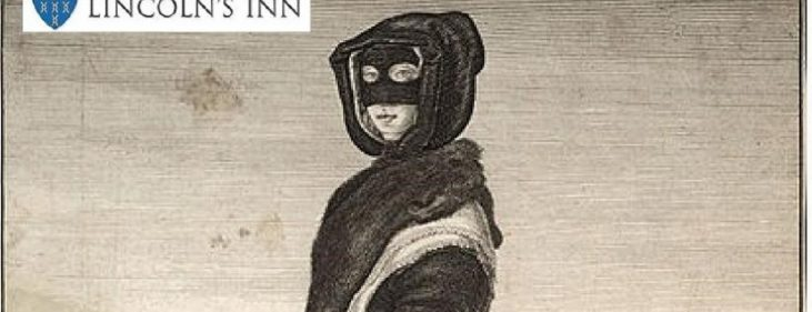 An etching of a woman standing in left profile but with her head turned almost full face. Her head is covered with black hood and the upper half of her face with a mask; Around her neck is a fur, and on her left arm a large muff. Over a light skirt trimmed with lace is a dark bunched mantle. A high-heeled shoe with rosette protrudes from her dress. Cornhill & Royal Exchange in background.