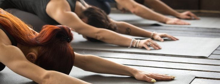 Group of people practicing yoga lesson stretching in Child exercise, Balasana pose, working out, indoor, studio close up. Healthy lifestyle concept