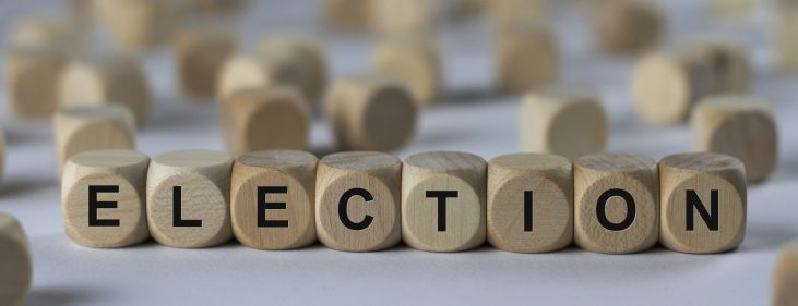 election - word spelled out with wooden cubes