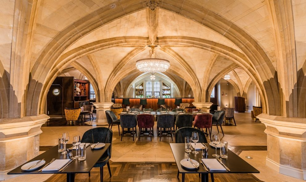 interior of the MCR Restaurant and bar. Vaulted ceilings and chandelier